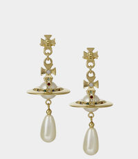 Pearl Drop Earrings Gold Tone