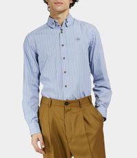 Two Button Krall Shirt Light Blue/Brown Stripes