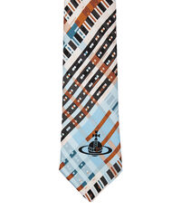 Tartan Print Tie Light Blue/White