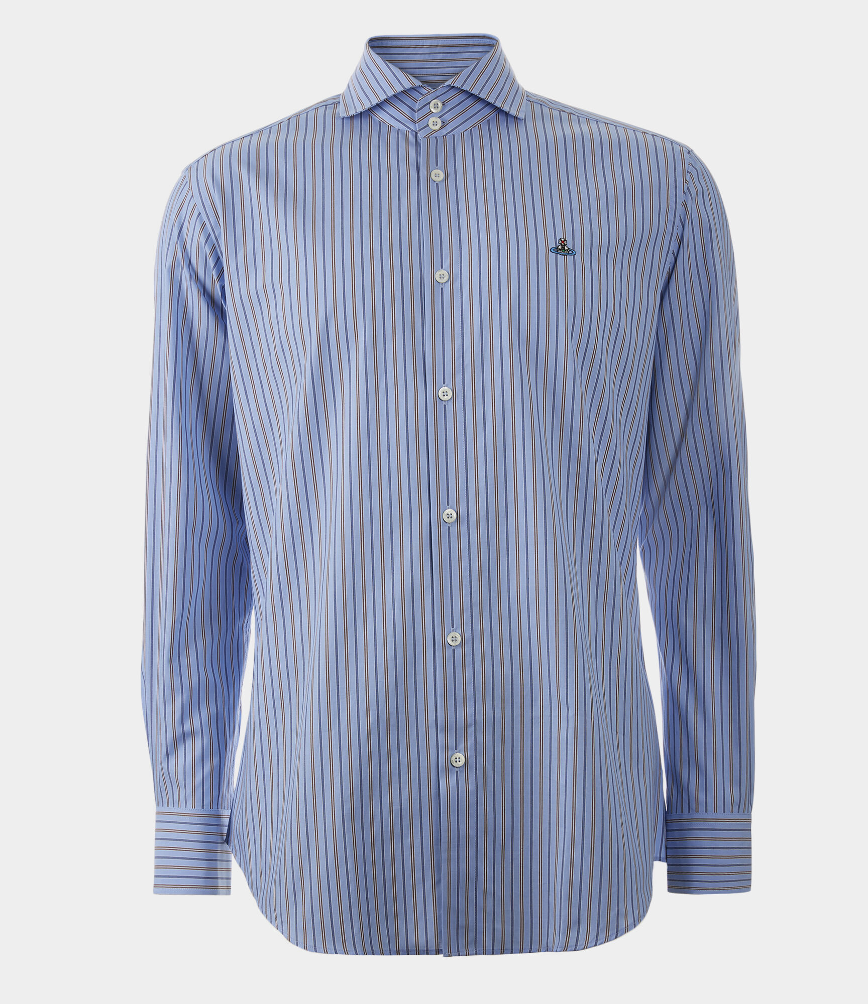 VIVIENNE WESTWOOD Two Button Cutaway Shirt Light Blue/Brown Stripes