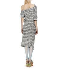 Striped Draped Dress Blue