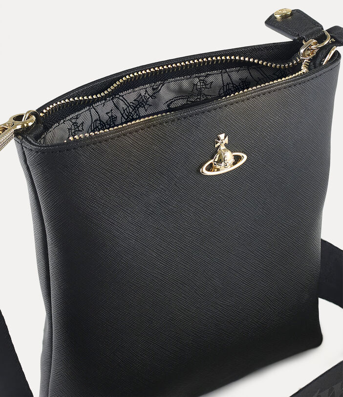 Square Crossbody With Webbing Strap Black/Gold 3
