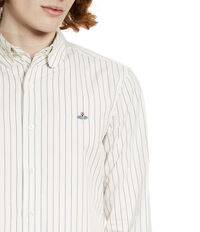 Two Button Krall Shirt Hickory Stripe White