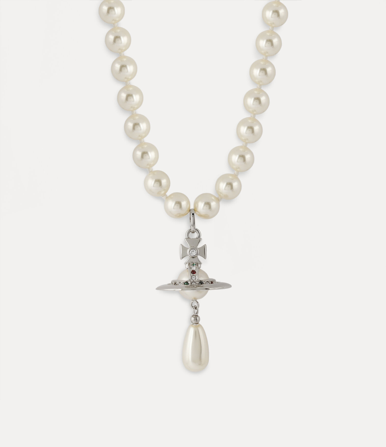 One Row Pearl Drop Silver Tone   Women's Necklaces   Vivienne Westwood