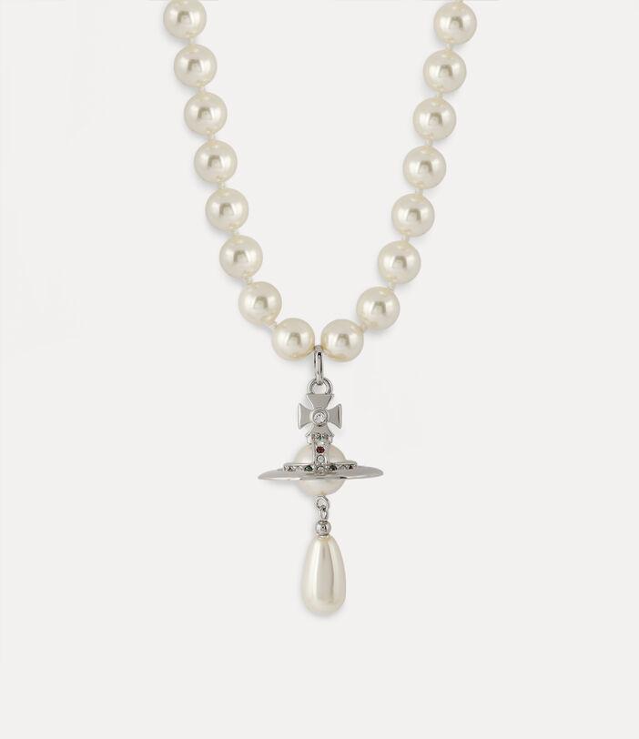One Row Pearl Drop Choker Silver-Tone 2