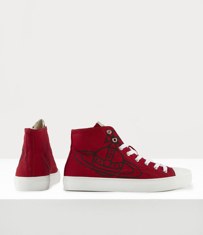 Men'S High Top Plimsolls Red 3
