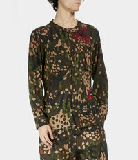 Military Low Neck Shirt Green Camouflage