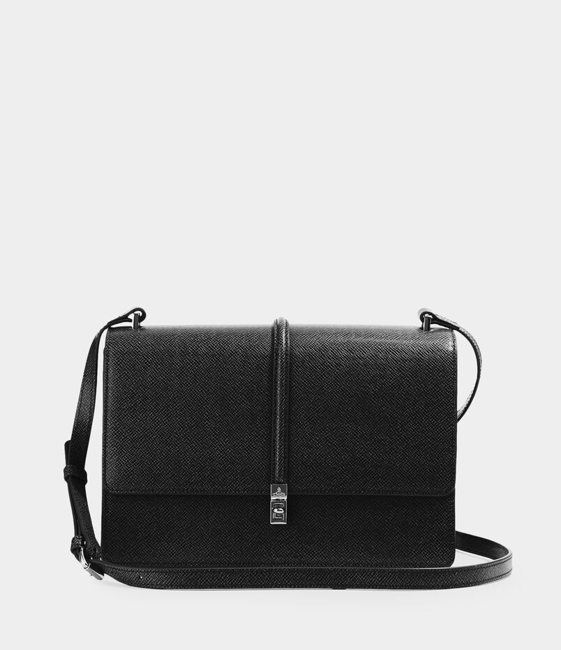 Sofia Large Crossbody With Flap Black