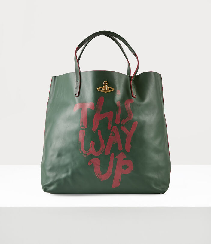 This Way Up Leather Shopper Green 1
