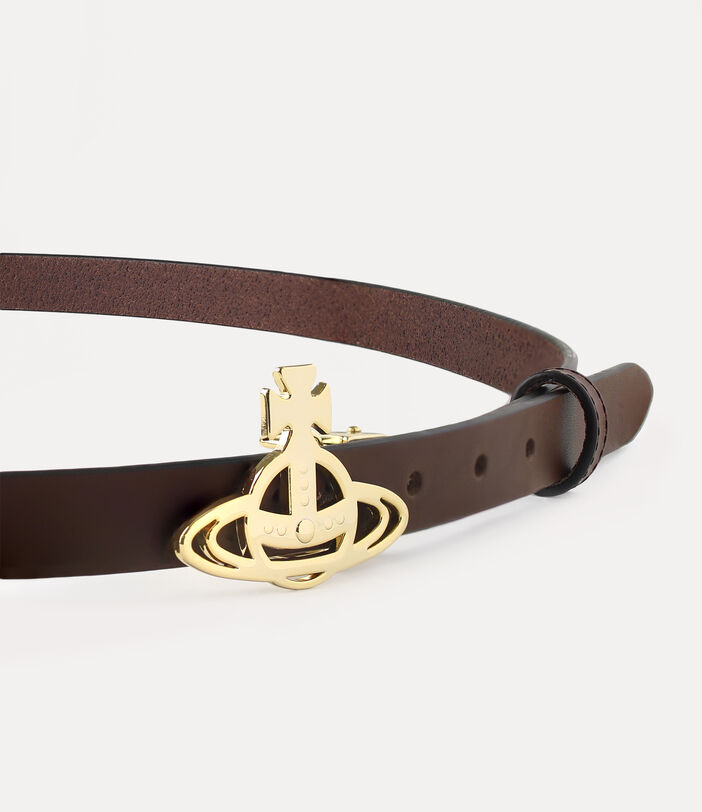 Small Light Gold Line Orb Buckle Belt Brown 3