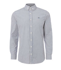 Two Button Krall Shirt Hickory Stripe White/Blue