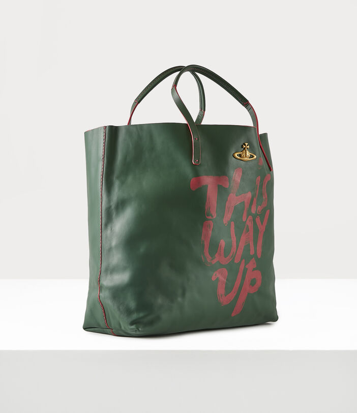 This Way Up Leather Shopper Green 3