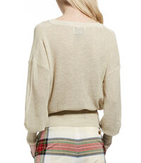 Drape Neck Cardigan Cream Melange