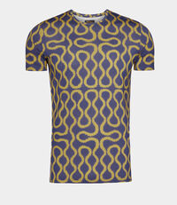 Squiggle T-Shirt Gold/Blue