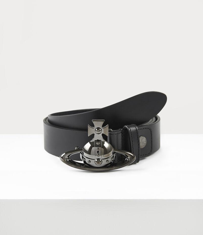 Orb Buckle Gun Metal Belt Black