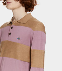Long Sleeves Polo Knit Beige/Pink Stripes