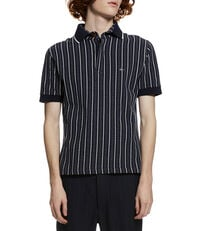 Overlock Polo Shirt Jacquard Navy/Cream