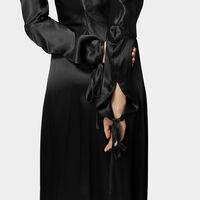 Satin Pourpoint Dress Black