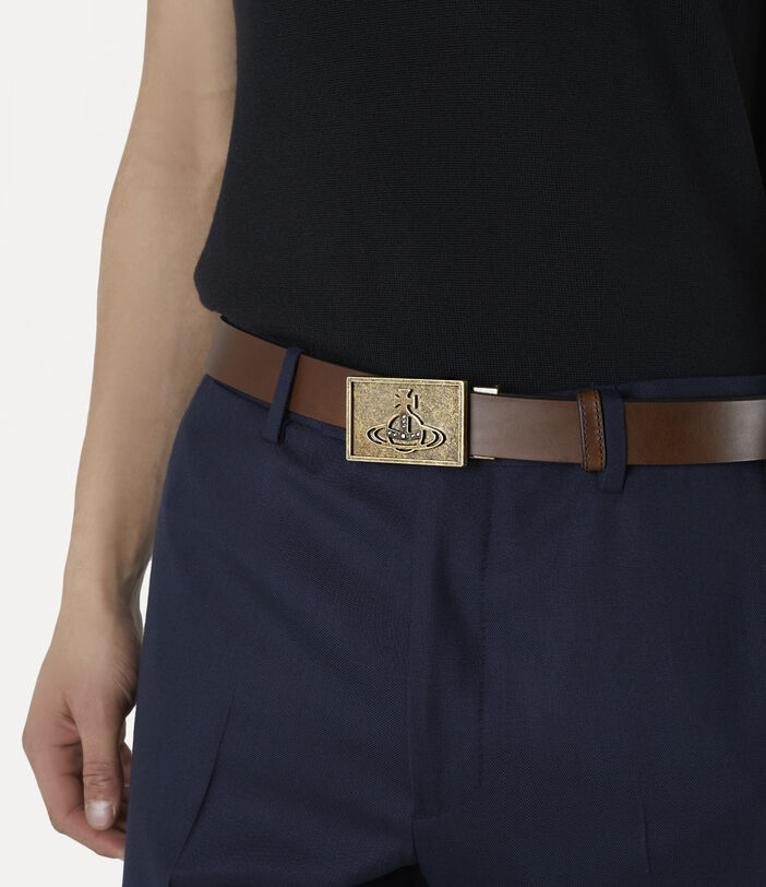 Brass Line Orb Square Buckle Belt Brown 2