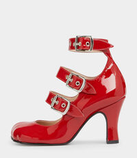 Animal Toe 3-Straps Patent Red