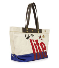 Get A Life Shopper Ivory/Royal Blue
