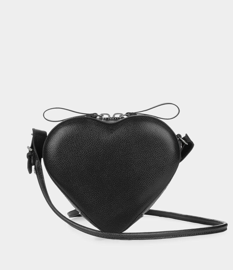 Johanna Heart Leather Shoulder Bag in Black from Vivienne Westwood