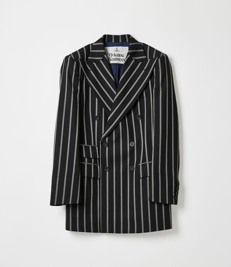 Narrow Double-Breast Jacket Black/White Stripes