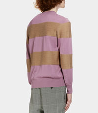 Roundneck Knit Beige/Pink Stripes