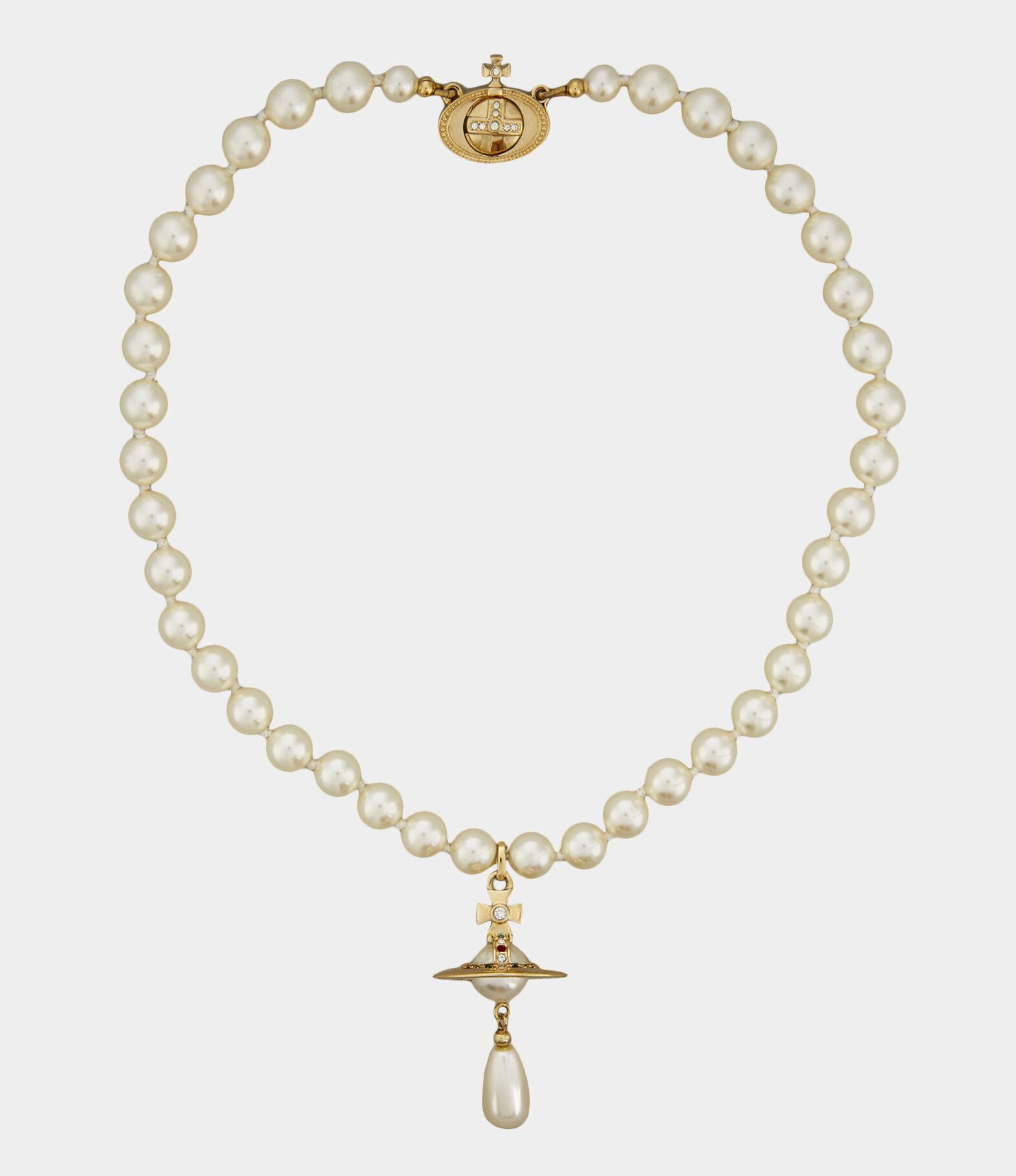 One Row Pearl Drop Choker   Women's Necklaces   Vivienne Westwood