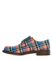 Joseph Cheaney & Son Masai Lace Up Derby Shoes Blue Tartan