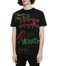 Boxy T-Shirt Meaningless Print Black