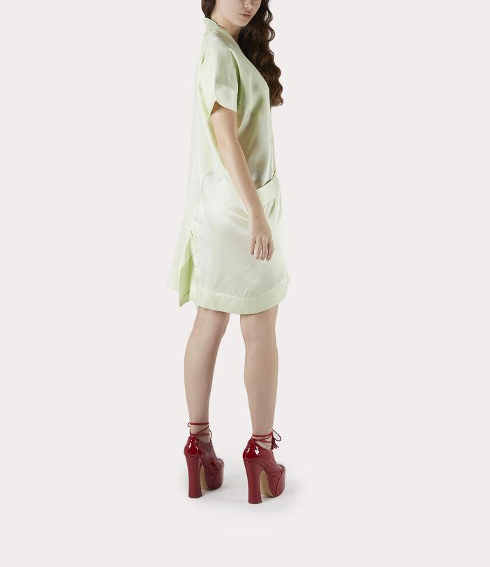 Short Sleeve Arabesque Dress Lime Cream 3
