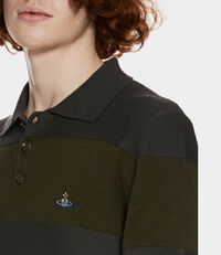 Long Sleeves Polo Knit Green/Grey Stripes