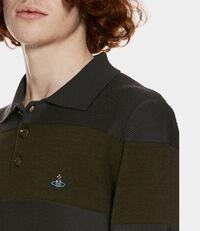 Long Sleeves Polo Knit Green/Grey Stripes