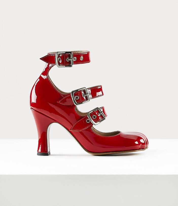 ANIMAL TOE THREE-STRAP SHOES RED PATENT 1