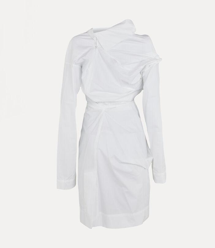 Long-Sleeve Cliff Dress White 2