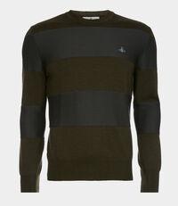 Roundneck Knit Green/Grey Stripes