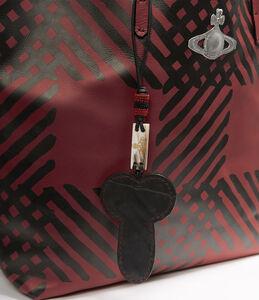 Leather Shopper Crini Check Red