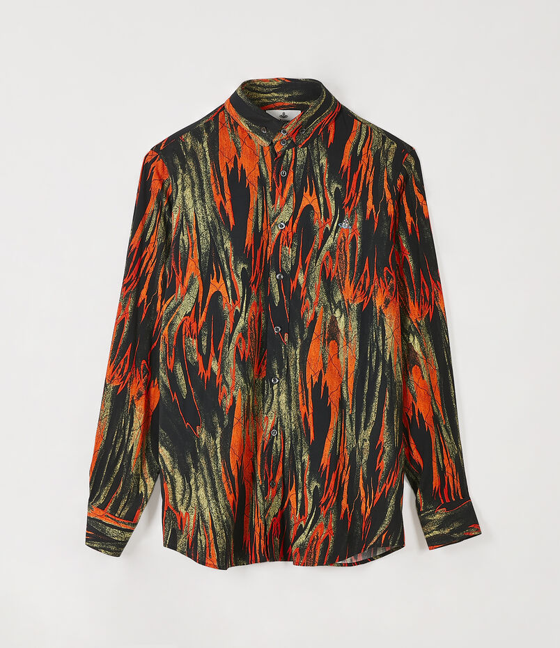 Two Button Krall Shirt Flames Print