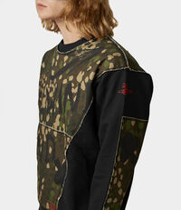 Camouflage Print Patchwork Sweater Black