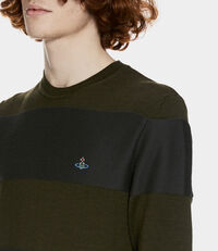 Roundneck Knit Green/Grey Stripes