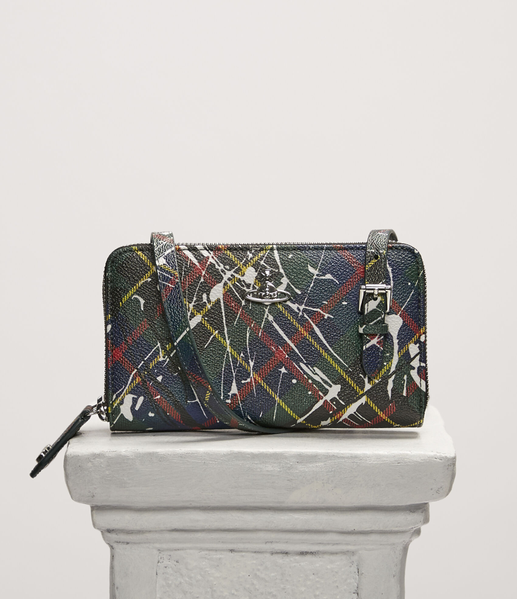 7e5f4e0c1296 Derby Double Zip Round Crossbody Bag Splashes Hunting Tartan