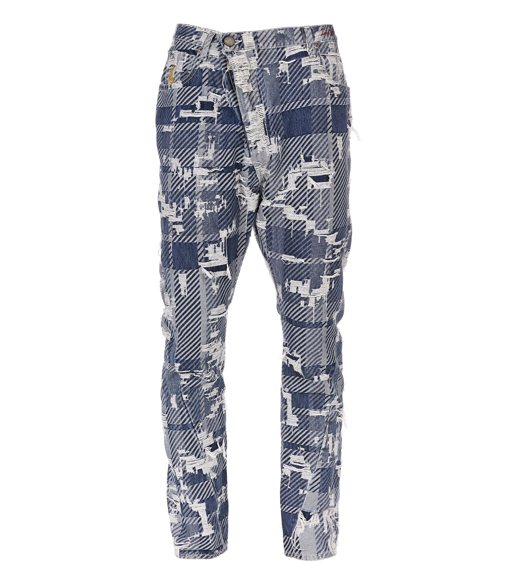 Asymetrical Jeans Blue Tartan