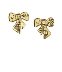 Arabella Bow Earrings Antique Gold Tone