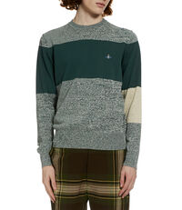 Roundneck Colour Block Jumper Green/Grey