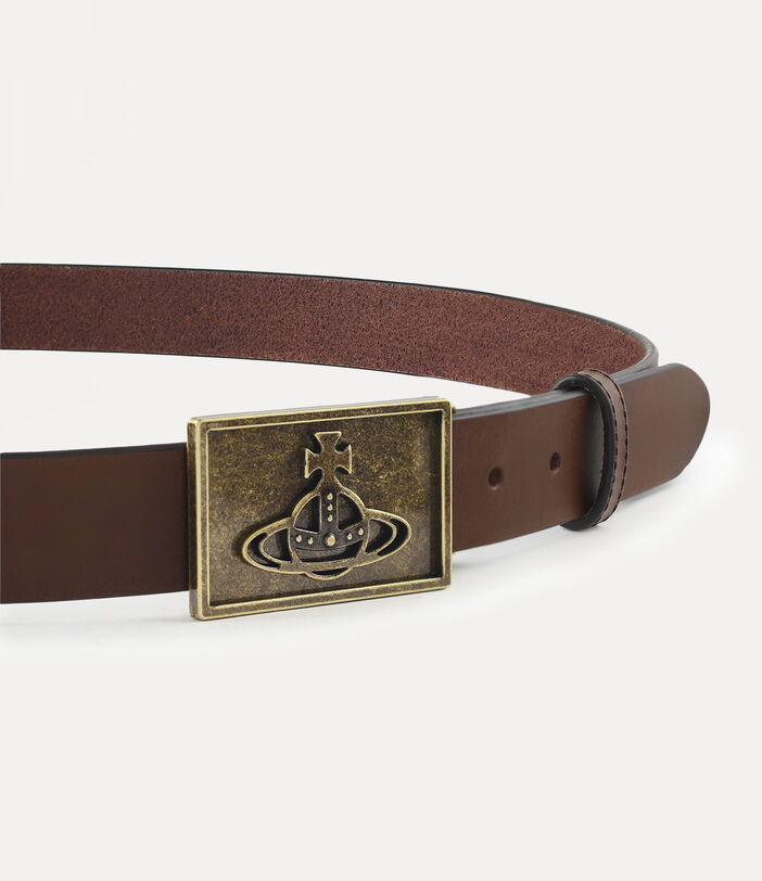 Brass Line Orb Square Buckle Belt Brown 3