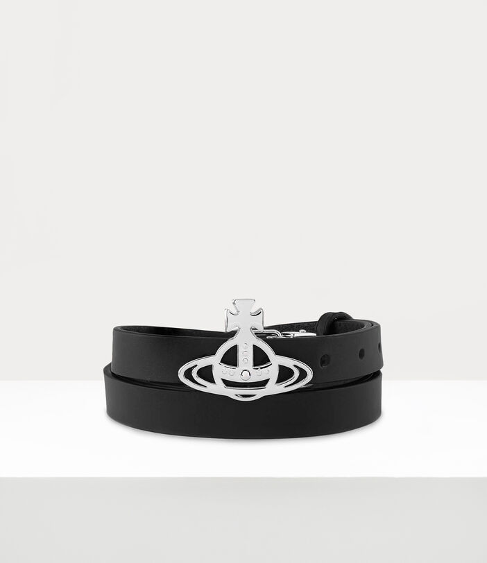 Silver Small Line Orb Buckle Belt Black 1