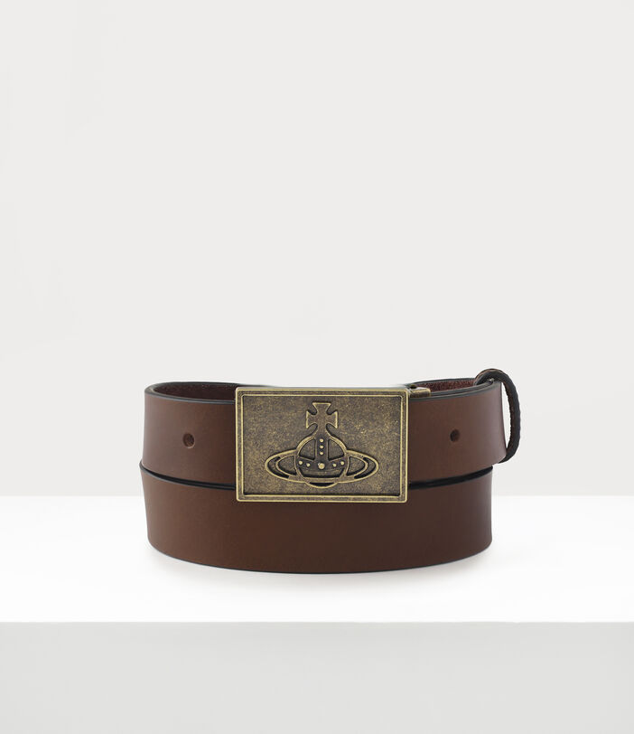 Brass Line Orb Square Buckle Belt Brown 1