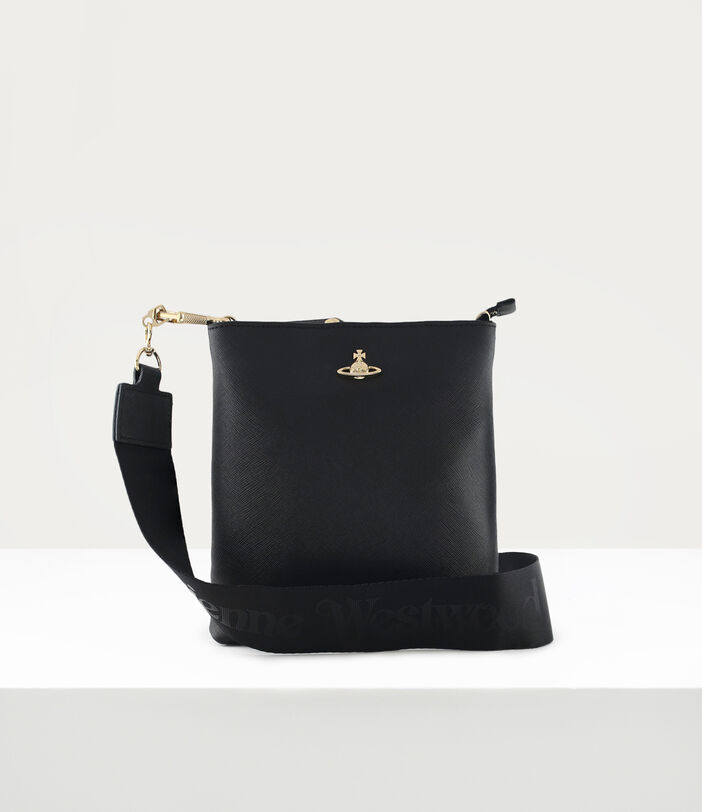 Square Crossbody With Webbing Strap Black/Gold 1