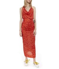 Whitney Halter Dress Red /White Flowers